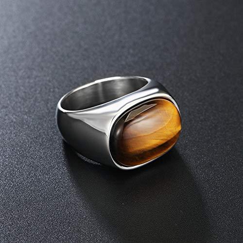 Anillo de titanio con ojo de tigre, anillo de acero de titanio para hombres y mujeres, de Hip Hop