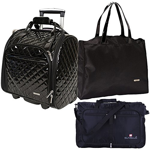 Travelon : Wheeled Underseat Carry-On with Back-Up Bag, Black With Duffle