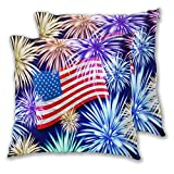 GUVICINIR Juego de 2 Fundas de cojín,4 de julio, los fuegos artificiales de la bandera estadounidense florecen en el cielo nocturno,Decorativa Cuadrado Suave Funda de Almohada Sofá Sillas Cama,45x45cm