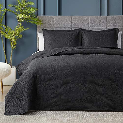 Hansleep Steppdecken-Set, leicht, Bett-Dekor, Tagesdecke, für alle Jahreszeiten, Schwarz, 172,7 x 228,6 cm
