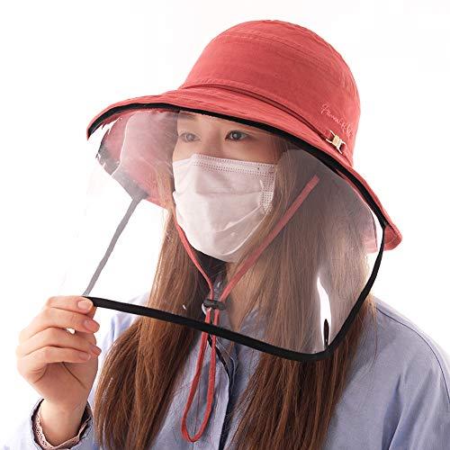 Comhats Multifunktionaler Gesichtsschutz Faltbarer Sonnenhut Abnehmbarer Schild Damen Orange