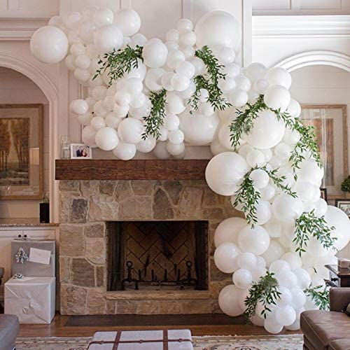 White Balloon Arch Garland Kit 110Pcs Mixed Sizes White Balloons With Tools DIY Party Decorations product image