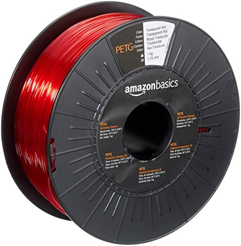 Amazon Basics PETG 3D Printer Filament 1 75mm Translucent Red 1 kg Spool product image