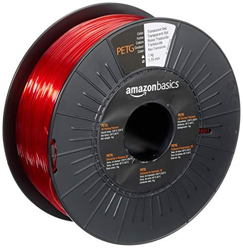 Amazon Basics - Filamento para impresora 3D,tereftalato de polietileno (PETG), 1,75 mm, cinta de 1 kg, rojo translúcido