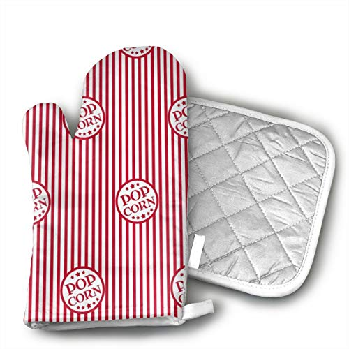 ~ Fresh Delicious Popcorn 1 of Heat Resistant Oven Gloves for Cooking,Grilling,Barbecue Potholders,Oven Mitts with Polyester Fabric Printed Pattern
