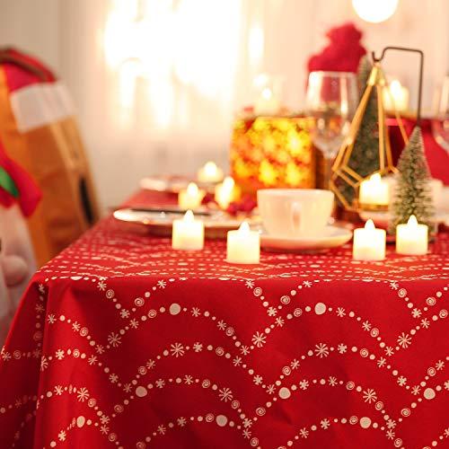 Deconovo Tovaglia Natale Rettangolare Impermeabile Antimacchia Natalizia Stampata per Feste 137x274CM Rossa