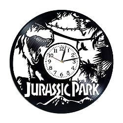 Kovides Jurassic World Wall Art Birthday Gift for Man Lp Vinyl Retro Record Wall Clock Exclusive Dinosaurs Gift Jurassic World Clock Movie Art Xmas Gift Idea for Fan
