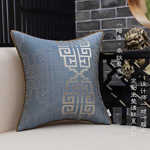 Funda de cojín de almohada de sofá de sala de estar de estilo chino, funda de almohada de estilo chino simple de villa en casa-50x50 (funda de almohada)_Fragancia oscura'rayas azules'