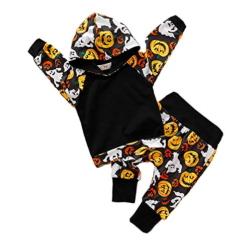 Halloween Infant Baby Boy Girl Outfit Pumpkin Hoodie Tops+Pumpkin Trousers 2PCS Clothes Set (18-24 Months, Halloween Hooded 2PCS)