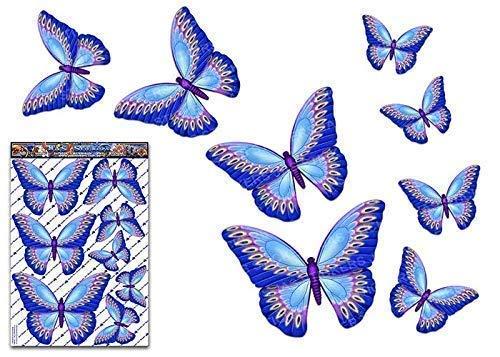 Adesivo per auto grande pacchetto animali farfalla blu per laptop, roulotte, camion, barche, biciclette ST00025BL_LGE - Adesivi JAS
