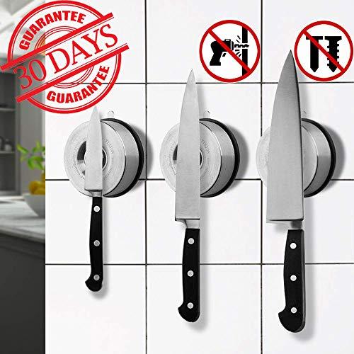 Messerhalter Magnetisch Edelstahl Saugnapf Messer Rack Kein Bohren erforderlich 5kg Tragkraft Starke Magnetkraft Wiederverwendbar mit Mehrzweck-Werkzeug Organizer für Küche Office Laundry room 1STÜCK