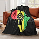 LELEMATE African Roots Black Power Piece Throw Blanket Super Soft Flannel Blanket Decorative Sofa Blanket for Kids Adults Warm Cozy 60'X50' Couch Blankets for Living Room Home Travel Camping Beach