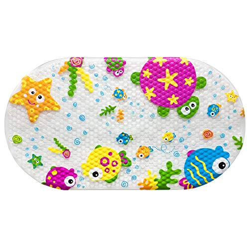 OTHWAY rutschfeste Kinder Badematte, PVC-Badewannenmatte Duschteppich Mit Leistungsstarken Saugnäpfen Massagefunktion Babywannenmatte 69x39cm (Meereslebewesen)