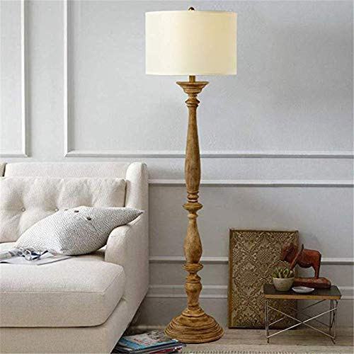 TATANE staande lamp Rustic Tut de oude houten staande lamp, 1,56 m met ronde stoffen kap, voor woonkamer, slaapkamer, nachtleeskamer of kantoor