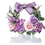 ソープフラワー リース 枯れない花 シャボンフラワー 石鹸 フレグランス ソープフラワーギフト 手作り 造花 母の日 敬老の日 妻 結婚祝い クリスマス 誕生日 玄関飾り 壁掛け 贈り物 女性プレゼント(紫)