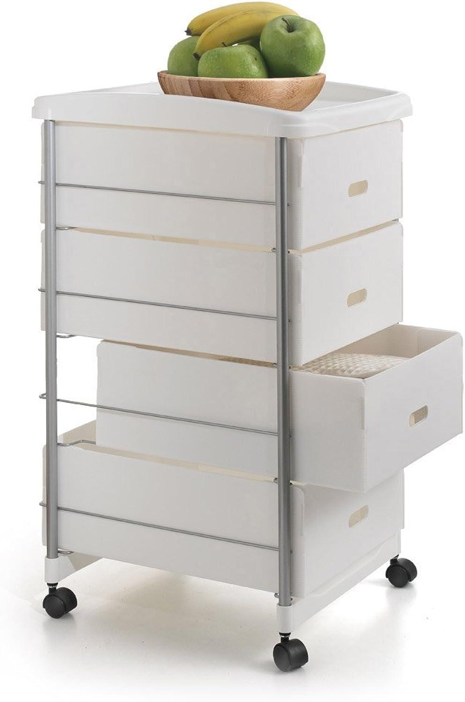 Metaltex 347204 Storage Cart Basel, White