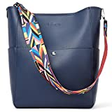 BROMEN Women Handbag Designer Vegan Leather Hobo Handbags Shoulder Bucket Crossbody Purse Navy