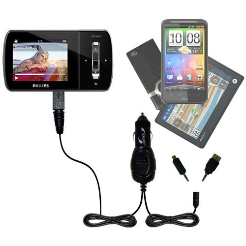 Gomadic Double Port Micro Car/Auto DC Charger Suitable for The Philips Aria (All GB Versions) - Charges up to 2 Devices simultaneously TipExchange Technology