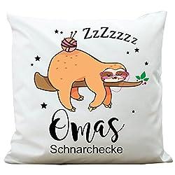 Wandtattoo-Loft Kissen Omas Schnarchecke mit Faultier Kissen 40 x 40 cm mit Füllung
