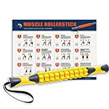 Muscle Roller, Kamileo Massage Roller Stick for Relieving Muscle Soreness Cramping Tightness Athletes Legs Back Calf Body Joints Recovery Therapy Tool(Manual, Workout Poster Included) - Lemon Yellow
