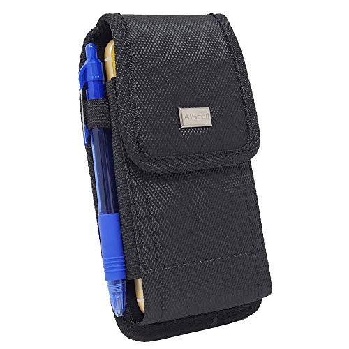 AISCELL Tactical Pouch for Galaxy A11, S20+,S20 ,Note20 Ultra, Note20, Z Fold2,Note 10+, A50, A51,A20,XCover Pro ,A71, S20 Fan Edition, Rugged Nylon Case Metal Clip Holster and Cloth Fits Phone with Slim Cover Case on