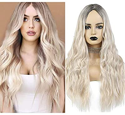 aSulis Natural Long Wavy Curly Wig Dark Roots Ombre Blonde Wig Middle Parting Synthetic Replacement Wig for Women
