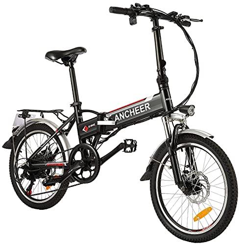 """ANCHEER Bicicletta Elettrica Pieghevole per Adulti, 20"""" Ebike da Pendolarismo con Motore da 250 W, Batteria da 36V 8Ah, Cambio Professionale a 7 Velocità Bici da Paesaggio Urbano nero"""