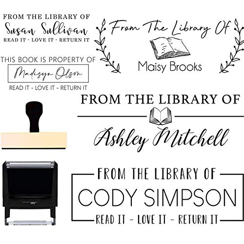 Book Stamp - From the Library of Stamp Please Return To This Belongs Stamper Personalized Ex Libris Custom Self Inking or Wood Handle 10+ Designs to Choose from! Custom Classroom Library Teacher Stamp