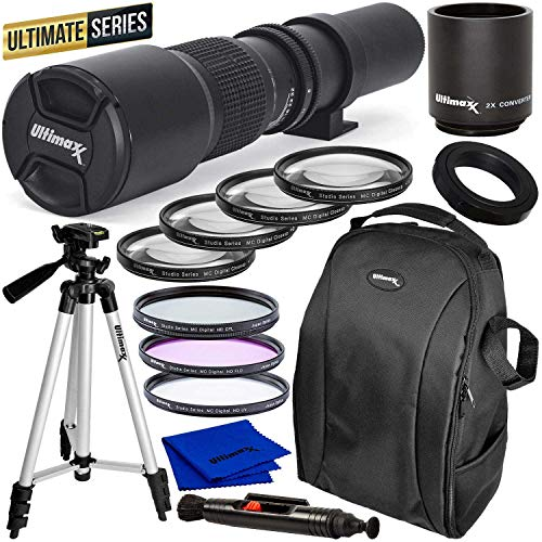 Ultimaxx Pro 500mm/1000mm f/8 Manual Multi-Coated Preset Telephoto Lens Kit for Canon EOS Rebel T3, T3i, T4i, T5, T5i, T6, T7 T6i, T6s, T7i, SL1, SL2, 60D, 70D, 77D, 80D, 5D III, 5D IV, 6D, 7D, 7D II