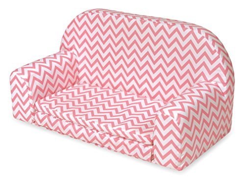 Badger Basket Chevron Upholstered Doll Sofa with Foldout Bed (fits American Girl Dolls), Pink/White