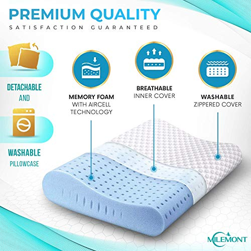 Milemont Memory Foam Pillow, Bed Pillows for Sleeping, Cervical Pillow for Neck, Orthopedic Contour Pillow Support for Back, Stomach, Side Sleepers, CertiPUR-US, Standard Size