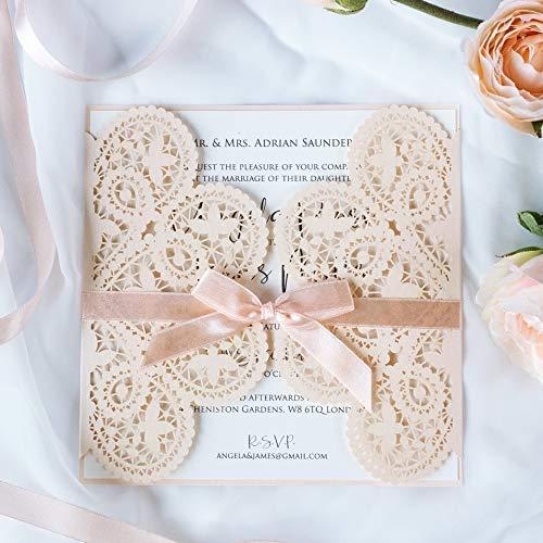 Hochzeitskarten Einladungen Gebustag, Hochzeit, Taufe, Einladungskarten - DIY 50 SET Lasergeschnittene (50 Stück mit Kuvert) - mit Pfirsich Spitze - Hochzeitskarten