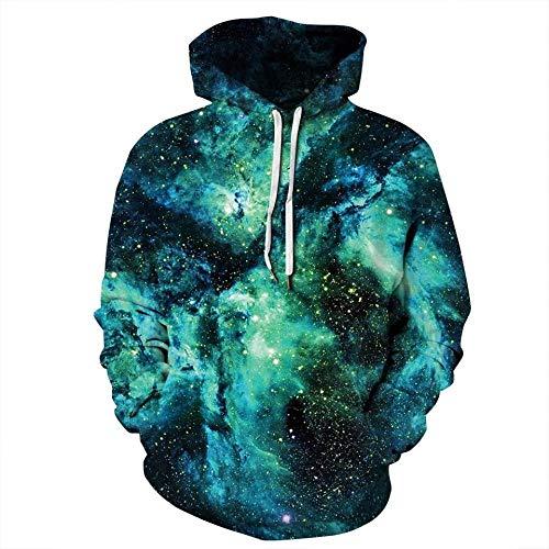 HGFHKLL Universo de impresión 3D, Galaxia, Cielo Estrellado, diseño Interesante, Jersey de Chico Cool, Sudaderas con Capucha para Parejas de Hombres y Mujeres, Sudaderas callejeras Casuales
