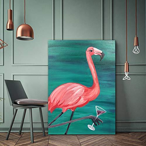 Kunst Flamingo Weinglas Poster Leinwand Malerei Wohnzimmer Schlafzimmer Wandkunst Moderne Dekoration rahmenlose Malerei 30cmX45cm