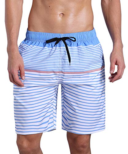 ORANSSI Men's Quick Dry Swim Trunks Bathing Suit Striped Shorts with Pockets Blue