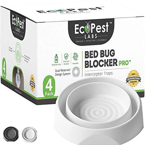 Bed Bug Interceptors - 4 Pack | Bed Bug Blocker (Pro) Interceptor Traps (White)