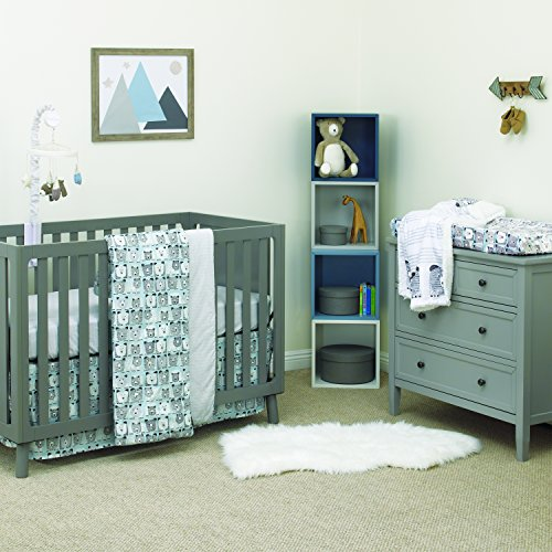 Dwell Studio Bear Hugs 3 Piece Nursery Crib Bedding Set, Blue, Gray, White