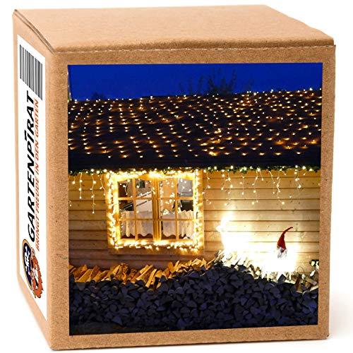 LED Lichternetz 4x2 m 180 LED warmweiß 5 m Zuleitung für außen mit Timer