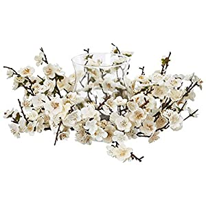 Nearly Natural Plum Blossom Candelabrum, White