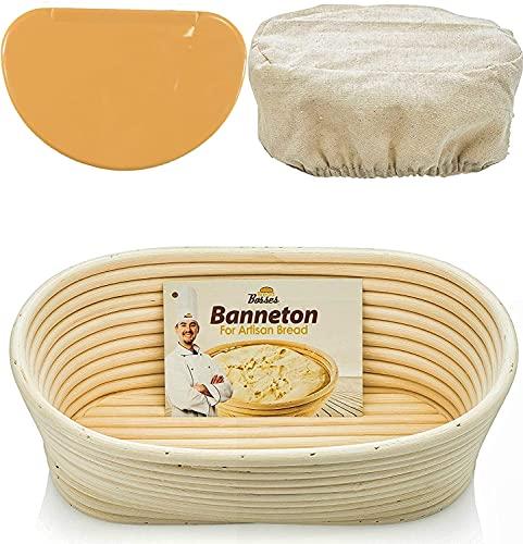 Oval Bread Banneton Proofing Basket - 12 Inch Baskets Sourdough Brotform Proofing Basket Set Banaton Towel for Baking Oval Proofing for Sourdough Bread Making Starter Jar Kit - Great As A Gift