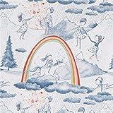Weißer Bio-Jersey mit Mädchen auf Einhorn und Regenbogen