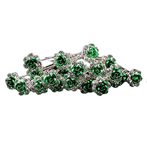 Outflower. 20Pcs Femmes Bridal Clear Crystal Rhinestone Rose Flower Clips de Cheveux Accessoires pour Cheveux Jewelry Hairpins (Vert)