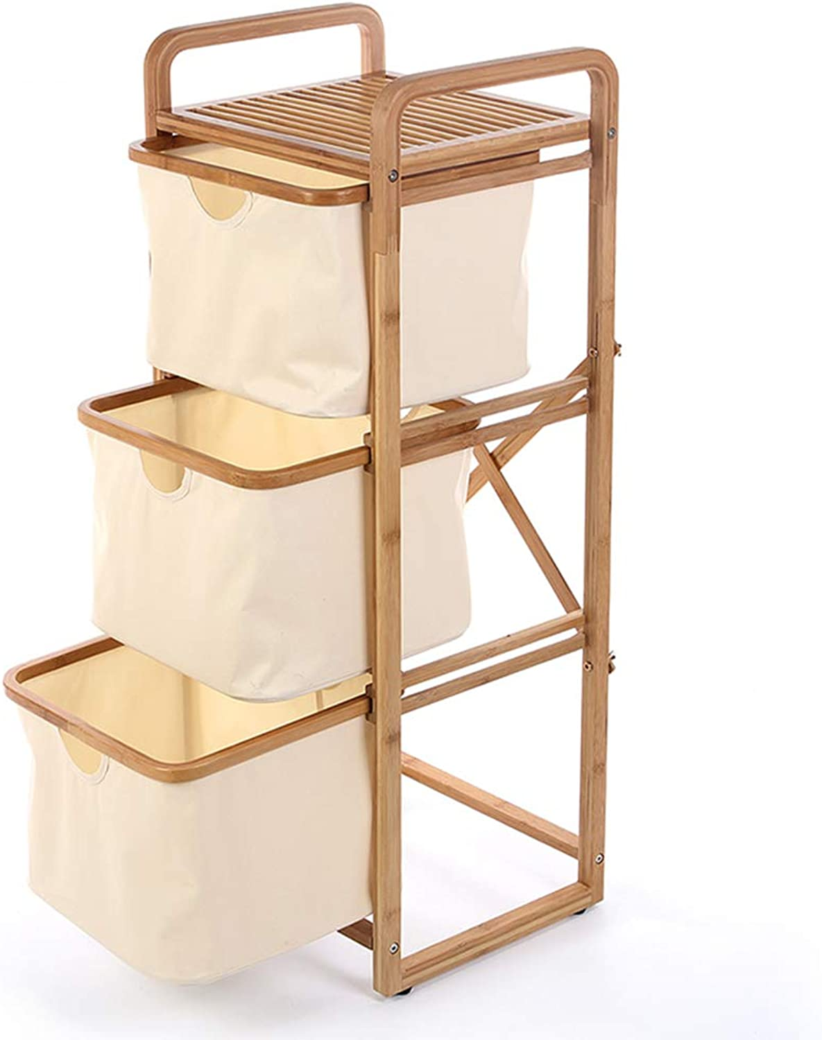 Bookshelf Utility Storage Bookcase Rack CDs Movies Books Toy Display Shelves Flower Stand, 4 Tier Bamboo Frame with Drawer