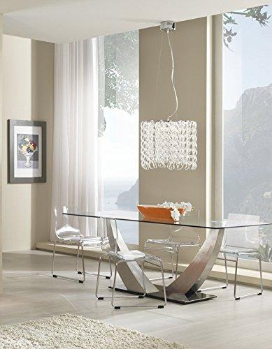 MaisonOutlet Tavolo Design con Piano in Vetro TEMPERATO Trasparente e Base in Vetro Temperato Trasparente. Doppio Piedistallo in Acciaio Spazzolato - Prezzo Outlet