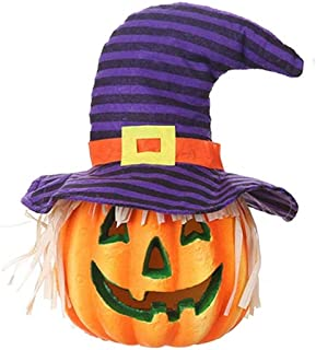OSALADI Halloween Led Light Up Purple Striped Witch Hat Scarecrow Pumpkin Lantern Light Decorative Foam Pumpkin Lamp (Without Battery)