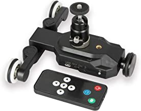 YOEMELY Motorized Cine Dolly Track, 3-Wheels Electric Camera Slider with Wireless Remote for Time Laspe Panoramic and Horizontal Photography