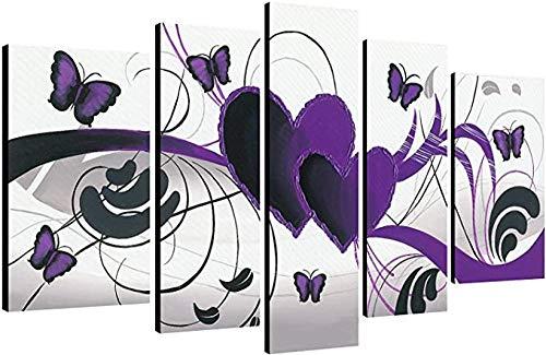 UOBSLBI - 5 Leinwandmalerei - Lila Liebesschmetterling - Gedrucktes Bild Wandbild Wohnzimmer Wand Wohnkultur Wandkunst Modulare Malerei Islamische Religion (Mit Rahmen)