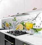 MyMaxxi   selbstklebende Küchenrückwand Folie ohne bohren   Aufkleber Motiv Zitrone   60cm hoch   adhesive kitchen wall design   Wandtattoo Wandbild Küche   Wand-Deko   Wandgestaltung