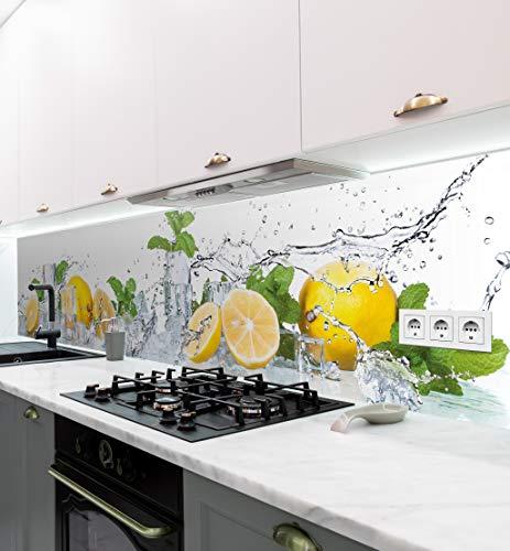 MyMaxxi | selbstklebende Küchenrückwand Folie ohne bohren | Aufkleber Motiv Zitrone | 60cm hoch | adhesive kitchen wall design | Wandtattoo Wandbild Küche | Wand-Deko | Wandgestaltung