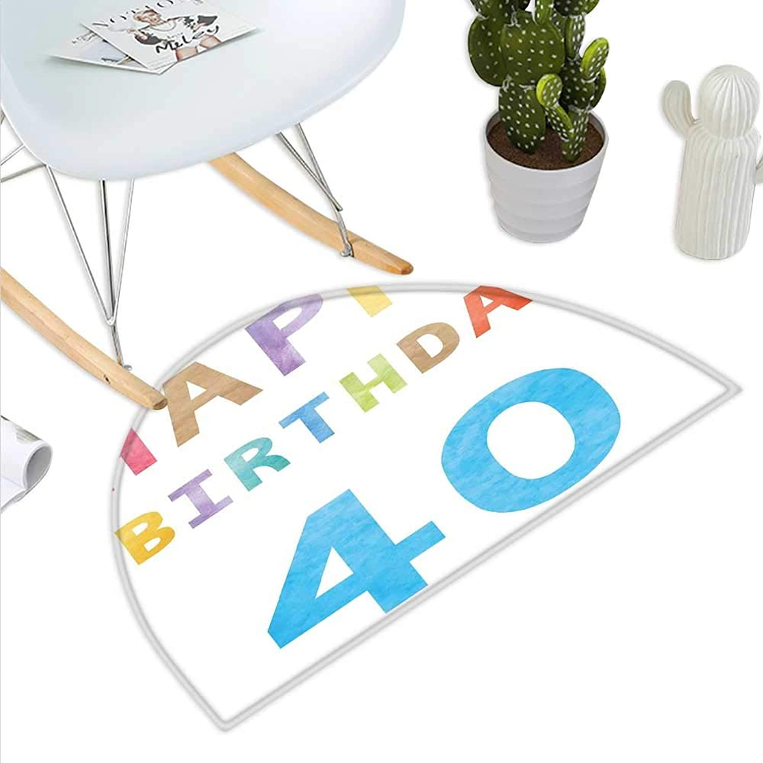 40th Birthday Semicircle Doormat Lettering Age Forty in Pastel Watercolors Artistic Greeting Concept Print Halfmoon doormats H 43.3  xD 64.9  Multicolor
